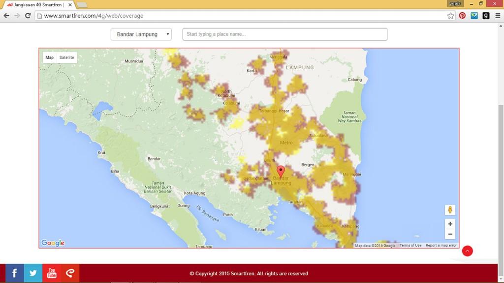 coverage smartfren 4G LTE di Lampung