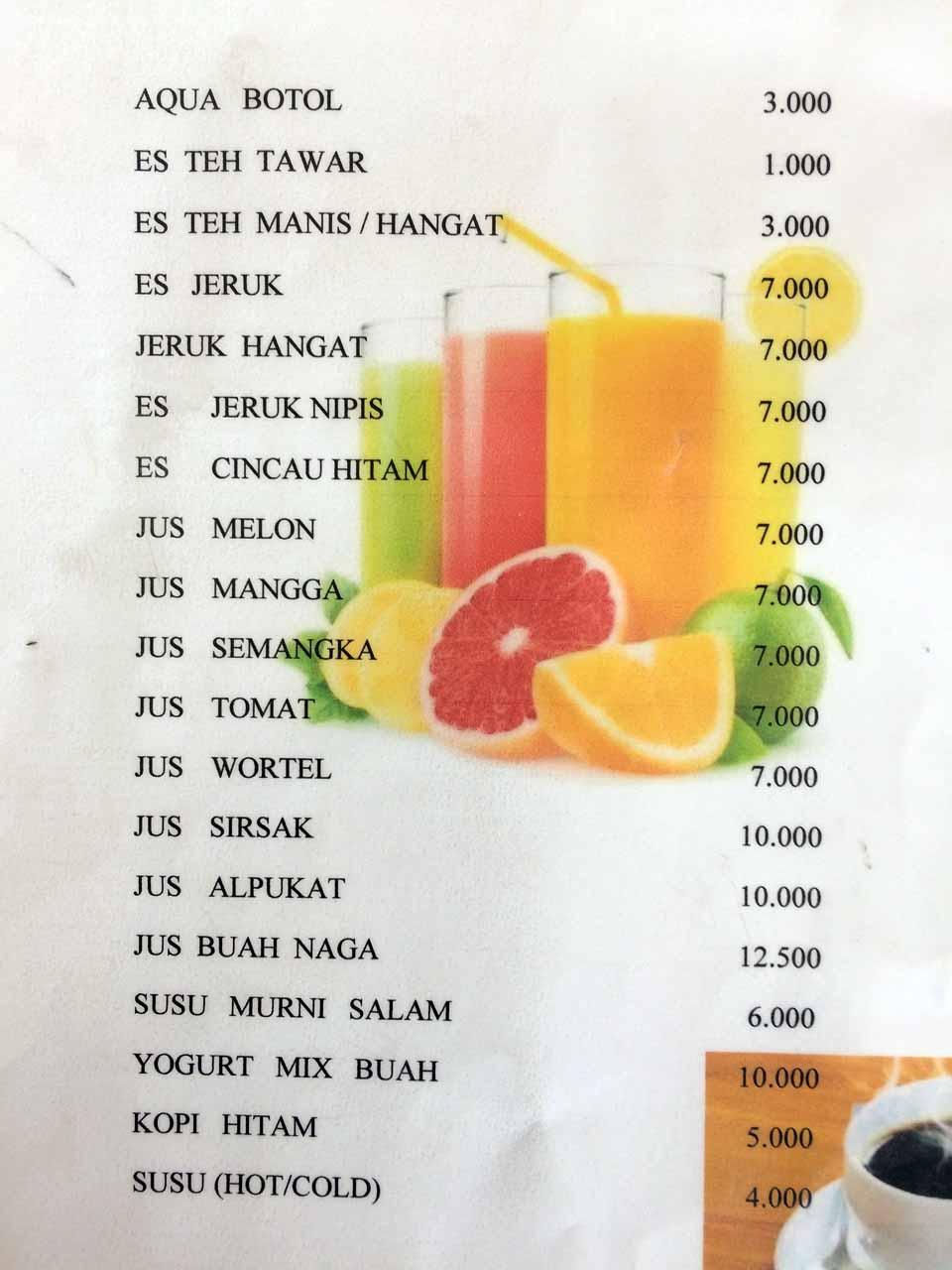 Menu Kantin Rina - Tempat makan di bandar lampung - yopie pangkey - 1