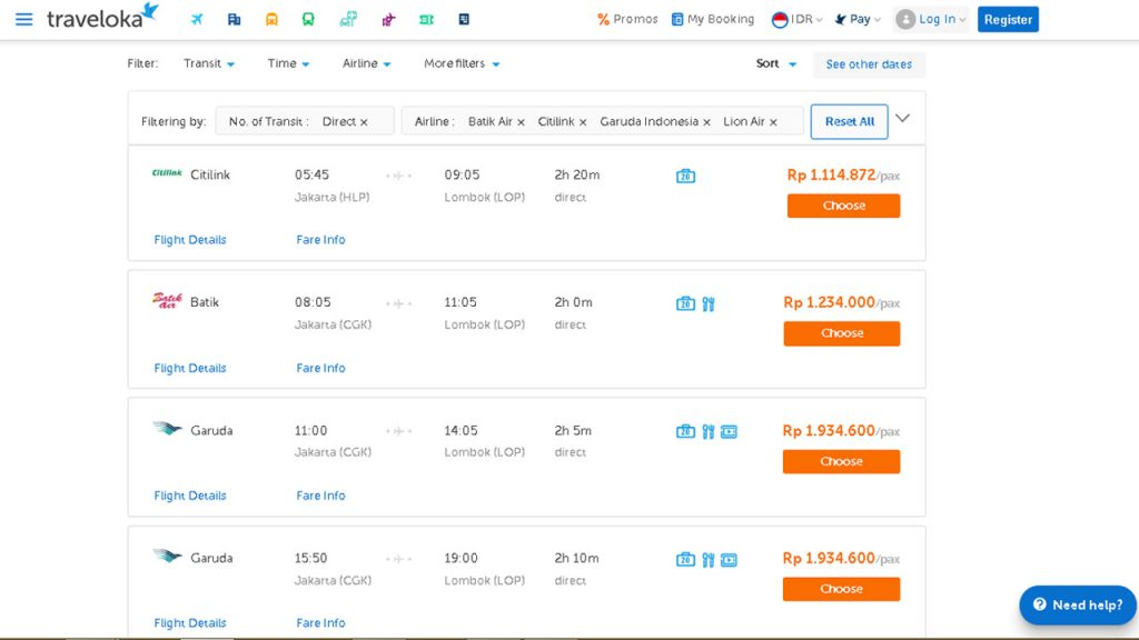 Harga Tiket Pesawat ke Lombok 2019